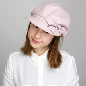 かわいい 帽子 レディース キャスケット リボン 春夏 UVカット 婦人 エリートシャポー 軽い つば付き 綿 麻 キャス サイズ調節可 ELITE CHAPEAU ピンク|elehelm-hatstore