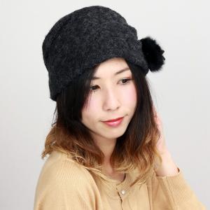 コサージュ付き 帽子 ターバン 婦人 アクロスキー 上品 レディース エリートシャポー 秋冬 ELITE CHAPEAU 黒 ブラック|elehelm-hatstore
