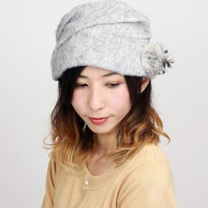 ELITE CHAPEAU 婦人 ターバン コサージュ付き 帽子 アクロスキー 上品 レディース エリートシャポー 秋冬 グレー|elehelm-hatstore