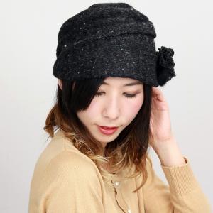 ニット ターバン ツバ付き 帽子 ダックツイード エリートシャポー  上品 レディース 室内着用可能 ELITE CHAPEAU 黒 ブラック|elehelm-hatstore