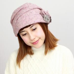 ニット 帽子 ターバン ツバ付き ダックツイード エリートシャポー  上品 レディース 室内着用可能 ELITE CHAPEAU ピンク|elehelm-hatstore