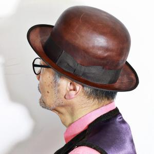 THE FACTORY MADE 秋 冬 馬革 ダービーハット ボーラーハット 山高帽 紳士 レザー 帽子 ハット メンズ レディース 茶 ダークブラウン elehelm-hatstore