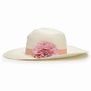 パナマ帽 レディース パナマハット 高品質 帽子 GALLIANO SORBATTI 女優帽 春 夏 ガリアーノ ソルバッティ 花 コサージュ付き ブリーチ ホワイト|elehelm-hatstore|02