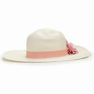 パナマ帽 レディース パナマハット 高品質 帽子 GALLIANO SORBATTI 女優帽 春 夏 ガリアーノ ソルバッティ 花 コサージュ付き ブリーチ ホワイト|elehelm-hatstore|04
