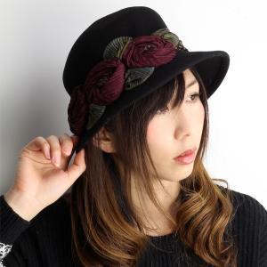GREVI 花飾りのフェルトハット レディース グレヴィ 帽子 秋 冬 イタリア製 ハンドメイド ブラック|elehelm-hatstore