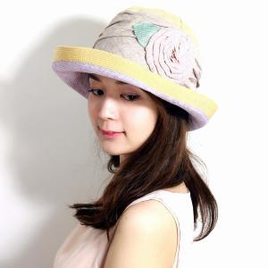 グレヴィ ハット つば広 GREVI 花飾り レディース 帽子 春夏 イタリア製 ハンドメイド ナチュラル|elehelm-hatstore