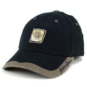 帽子 キャップ メンズ インディ・ジョーンズ コットン 綿 ベーシックデザイン カジュアル ブラック|elehelm-hatstore