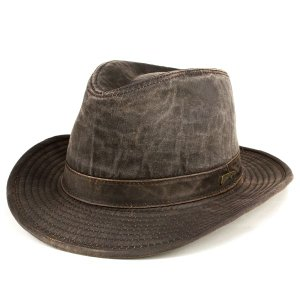 ハット 帽子 メンズ ワイドブリム インディ・ジョーンズ UPF50+ 中折れハット フェドラ レザー風生地 ダークブラウン|elehelm-hatstore