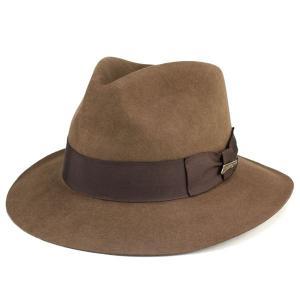 つば広 帽子 インディ・ジョーンズ ワイドブリム INDY fedora hat ファーフェルト Indiana Jones 茶 ブラウン|elehelm-hatstore