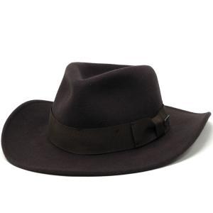 インディ・ジョーンズ 帽子 ワイドブリム クラッシャブル ウールフェルト メンズ アウトバック ハット ディズニー 秋冬 ブラウン|elehelm-hatstore
