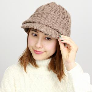 帽子 ニット ツバ付き メンズ レディース ニットキャップ ニット帽 秋冬 ローゲージ ざっくりニット ブラウン 茶|elehelm-hatstore