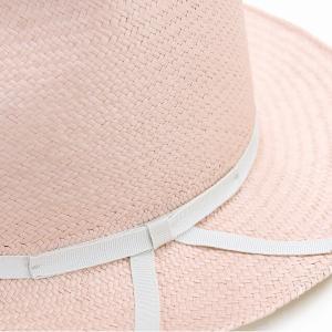 麦わら帽子 母の日 帽子 レディース 春夏 パナマ帽 ツバ広 Marea 本パナマ 父の日 パナマハット 中折れ帽 エクアドル製 メンズ 中折れハット ピンク|elehelm-hatstore|05