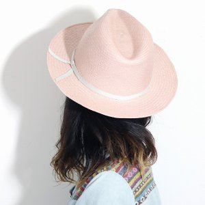 麦わら帽子 母の日 帽子 レディース 春夏 パナマ帽 ツバ広 Marea 本パナマ 父の日 パナマハット 中折れ帽 エクアドル製 メンズ 中折れハット ピンク|elehelm-hatstore|10