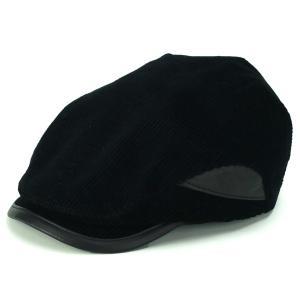 コーデュロイ×レザー ハンチング メンズ KASZKIET カシュケット 帽子 シープスキンレザー 黒 ブラック