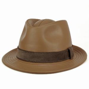 帽子 メンズ ハット レザー 中折れハット KASZKIET カシュケット イタリアンレザー 高級 キャメル