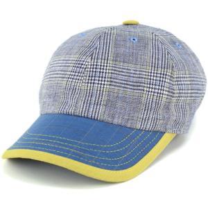 キャップ メンズ カシュケット 紳士 春夏 帽子 KASZKIET 黄色ライン チェック柄 ブルー