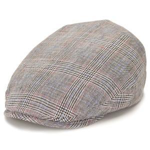 ハンチング メンズ 春夏 チェック 帽子 リネン カシュケット インポート ハット ハンチング帽 麻 ポーランド製 style 1618 型 グレンチェック グレー|elehelm-hatstore