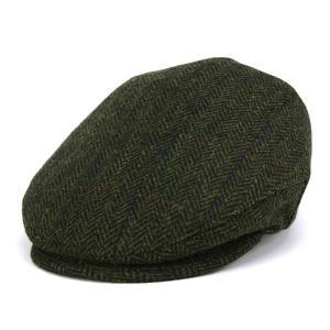 シェットランドウール ツイード へリンボン ハンチング KASZKIET インポート カシュケット 帽子 オリーブ