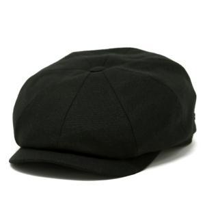 ハンチング メンズ 帽子 KASZKIET ポーランド製 1660型 8方ハンチング 無地 リネン カシュケット 春夏 インポートハット 大きいサイズ 黒 ブラック|elehelm-hatstore
