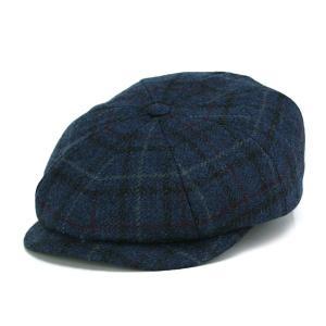 ラムウール ツイード チェック ハンチング キャスケット KASZKIET インポート カシュケット LAMBSWOOL 帽子 紺 ネイビー