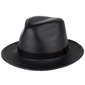 レザー ハット 帽子 メンズ イタリアンレザー ワイドブリム 中折れ カシュケット 秋冬 ノームコア KASZKIET シボブラック