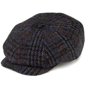 ハンチング カシュケット 帽子 秋冬 アイビーキャップ ハリスツイード 渋い ハンチング メンズ KASZKIET 青 ブルー