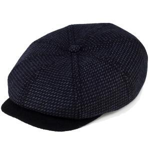 カシュケット ハンチング メンズ 帽子 秋冬 カシュケット インポート バーズアイ 8パネル KASZKIET ネイビー
