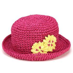 帽子 キッズ 春夏 ハット 日よけ フラワー モチーフ UVカット 子供 ぼうし ペーパー 花 女の子 ピンク elehelm-hatstore
