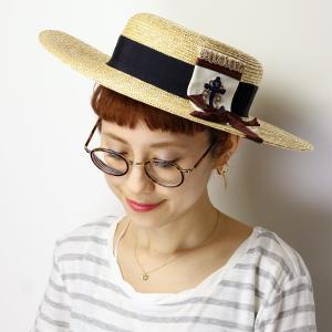麦わら帽子 ギフト バラ色の帽子 マリンに憧れ ハット 日よけ レディース 日本製 春夏 キャノチェ barairo no boushi ツバ広/クロx白|elehelm-hatstore