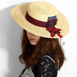 日本製 春夏 キャノチェ barairo no boushi ツバ広 麦わら帽子 ギフト バラ色の帽子 マリンに憧れ ハット 日よけ レディース/ボルドー|elehelm-hatstore
