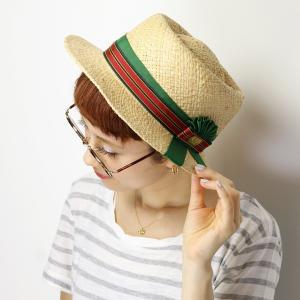 カンカン帽 ストライプリボンハット barairo no boushi ロゼット 春夏 麦わら帽子 日本製 帽子 ギフト バラ色の帽子 レディース/グリーンリボン|elehelm-hatstore