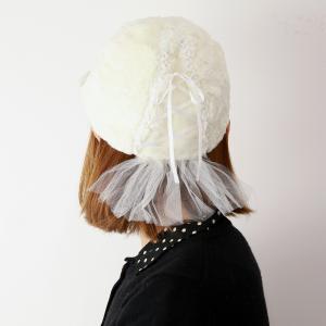 キャップ フェイクファー ふわふわ 可愛い バラ色の帽子 日本製 バレリーナCap 秋冬 ゆめかわいい Barairo no Boushi バレエ風 レディース 帽子 オフ白 ホワイト|elehelm-hatstore