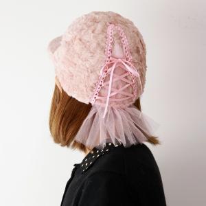 日本製 可愛い キャップ 秋冬  レディース フェイクファー 帽子 ふわふわ バラ色の帽子 バレリーナCap ゆめかわいい バレエ Barairo no Boushi ピンク|elehelm-hatstore