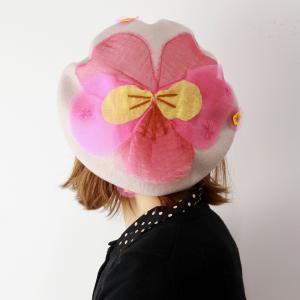 ベレー帽 秋冬 日本製 バラ色の帽子 雪のビオラベレー レディース 花モチーフ 帽子 Barairo no Boushi 可愛い ベレー 送料無料 サンドベージュ|elehelm-hatstore