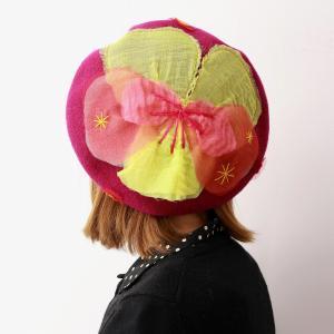 日本製 ベレー帽 送料無料 レディース Barairo no Boushi 秋冬 バラ色の帽子 雪のビオラベレー 花モチーフ 帽子 可愛い ベレー ライラック 紫|elehelm-hatstore