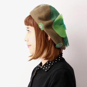 バラ色の帽子 ベレー帽 雪のビオラベレー 日本製 ベレー帽 レディース Barairo no Boushi 秋冬 花モチーフ 帽子 送料無料 可愛い ベレー カーキ 緑|elehelm-hatstore