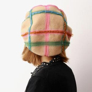 チェック柄 ベレー帽 ウール100% 帽子 バラ色の帽子 メロウベレー カラフル ベレー 可愛い 秋冬 barairo no Boushi 日本製 ベージュ|elehelm-hatstore