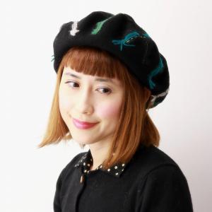 秋冬 ベレー帽 帽子 チェック柄 バラ色の帽子 メロウベレー カラフル ベレー 日本製 可愛い ウール100% barairo no Boushi クロ ブラック|elehelm-hatstore