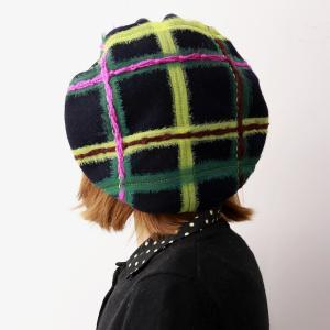 日本製 ベレー帽 秋冬 帽子 チェック柄 バラ色の帽子 メロウベレー ベレー 可愛い ウール100% カラフル barairo no Boushi ネイビー|elehelm-hatstore