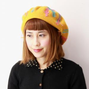 チェック柄 ベレー帽 日本製 秋冬 バラ色の帽子 メロウベレー ベレー 可愛い 帽子 ウール100% カラフル barairo no Boushi ミモザ イエロー|elehelm-hatstore