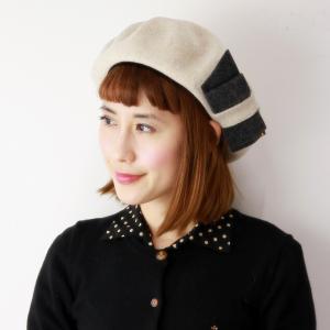 ベレー帽 レディース ウール バラ色の帽子 ミニョンリボンベレー 秋冬 帽子 レディース リボン Barairo no Boushi 可愛い ベレー 日本製 Eホワイト 白|elehelm-hatstore