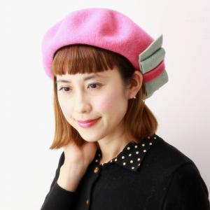 帽子 ウール バラ色の帽子 ベレー帽 レディース ミニョンリボンベレー 秋冬 レディース リボン 可愛い Barairo no Boushi ベレー 日本製 チェリー ピンク|elehelm-hatstore
