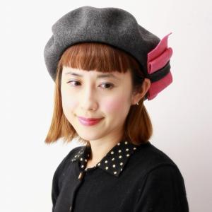 日本製  帽子 ウール バラ色の帽子 ベレー帽 レディース ミニョンリボンベレー 秋冬 レディース リボン ベレー 可愛い Barairo no Boushi チャコール グレー|elehelm-hatstore
