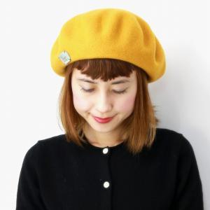 レディース 秋冬 シンプル 帽子 Barairo no Boushi アジャスター付き プレーンバスクベレー 送料無料 ベレー帽 日本製 バラ色の帽子 ベレー ミモザ イエロー|elehelm-hatstore