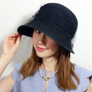 麦わら帽子 春夏 レディース レース バラ色の帽子 可愛い ハット UVカット 日本製 帽子 紫外線対策 花レースクラシッククロシェ barairo no boushi クロ|elehelm-hatstore