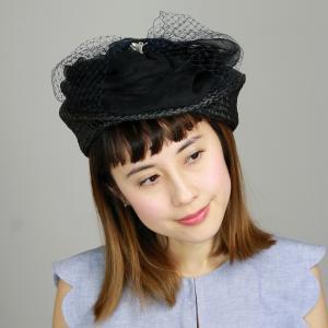 日本製 トーク帽 Barairo no Boushi レディース 春夏 バラ色の帽子 シルクオーガンジー花トークベレー 帽子 パーティー ブランド チュール クロ elehelm-hatstore