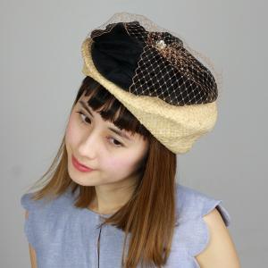 日本製 ブランド 帽子ベレー帽 Barairo no Boushi レディース 春夏 バラ色の帽子 シルクオーガンジー花トークベレー トーク帽 チュール 生成xクロ elehelm-hatstore