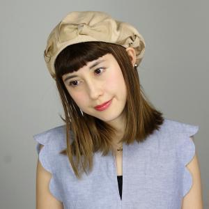 日本製 ベレー帽 ガーリー 春夏 コットン100% リボンリボンベレー barairo no boushi サマーベレー バラ色の帽子 リボン レディース 帽子 ベージュ elehelm-hatstore