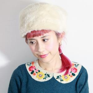 可愛い ロシア帽 送料無料 日本製 バラ色の帽子 Barairo no ロシアン ファー 帽子 レディース Barairo no Boushi ロシアンハット 秋冬 アイボリー elehelm-hatstore