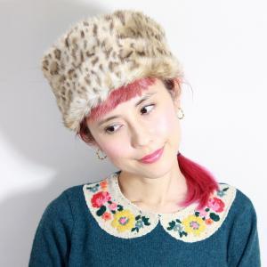 ロシア帽 ヒョウ柄 送料無料 日本製 バラ色の帽子 Barairo no ロシアン Barairo no Boushi  秋冬 レディース ファー 帽子 可愛い ヒョウベージュ elehelm-hatstore